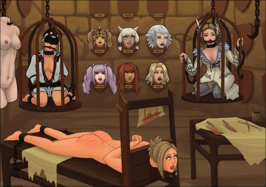 hentai sensory blindfold deprivation gag bondage Naked girl and a dragon