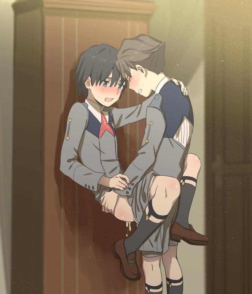 two hiro and darling franxx zero in the Ningen debris ~konna jibun ni dare ga shita?~